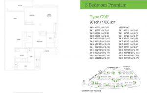 treasure at tampines floor plan 3 bedrooms premium