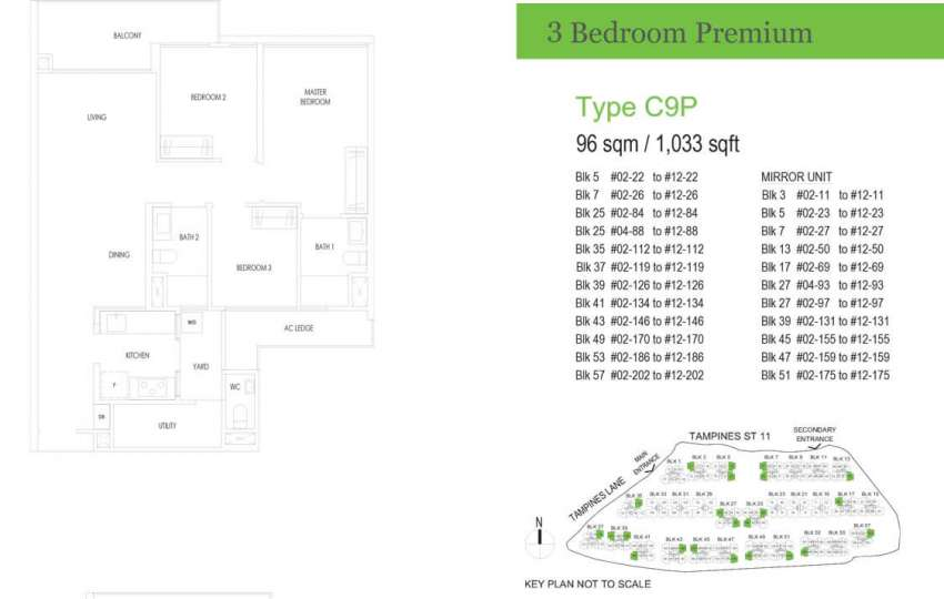 treasure at tampines floor plan 3 bedrooms premium