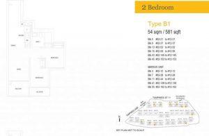 treasure at tampines floor plan two bedrooms type b1